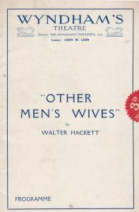 Other Mens Wives Comedy Marion Lorne Fay Compton Wnydham Theatre Programme