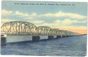 Hathaway Bridge over West St. Andrew's Bay, Panama City, Florida, FL, Linen