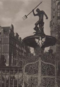 Fountain Of Neptune At Night Poland Polish Real Photo Postcard