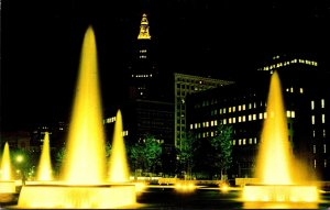 Ohio Cleveland Public Hall and Convention Center Fountains At Night