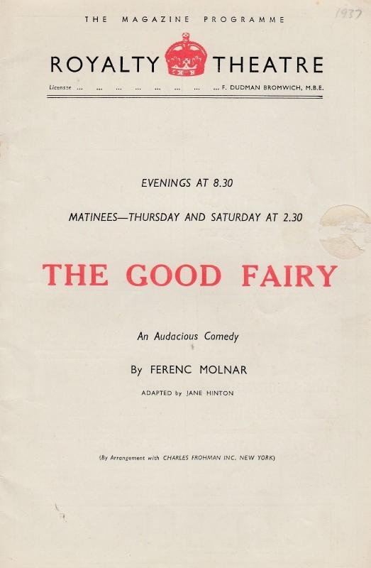 The Good Fairy Hungarian Play 1930s Old London Royalty Theatre Programme