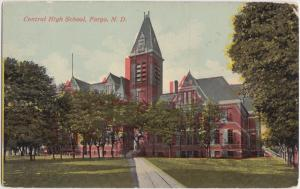 North Dakota ND Postcard c1910 FARGO Central High School Building