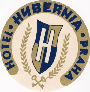 Czechoslovakia Praha Hotel Hybernia Vintage Luggage Label lbl0849