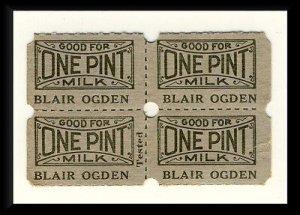 4 Blair Ogden Dairy Milk Tickets, Clearfield, Pennsylvania/PA/Penn, 1950's?