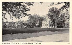 Greensboro North Carolina University Dorms Antique Postcard K94293