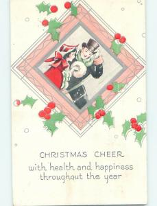 Pre-Linen christmas GIRL WITH MUFF HAND WARMER & MAN WITH TOP HAT HQ6682