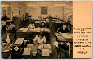 Chicago Ad Postcard Supreme Life Insurance Co Agency & Medical Dept. 1946 Cancel