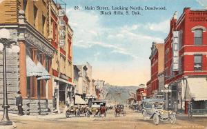 S. Dak. Black Hills, Deadwood, Looking North, Main Street, Elks, old auto cars