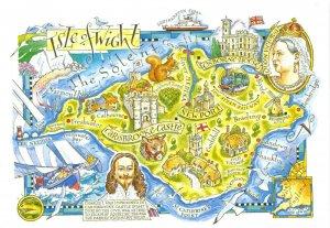 Isle of Wight Map Postcard, Newport, Carisbrooke Castle, Osborne House, BY7