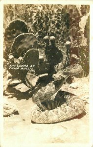 Camp Bullis Oklahoma Fort Sill Rattlesnake 1938 RPPC Photo Postcard 21-7315