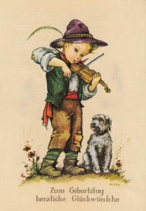 ARTIST SIGNED HILDE CYTE BOY PLAY VIOLIN MUSIC FOR DOG FANTASY POSTCARD