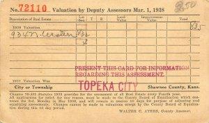 Topeka City KS~Shawnee Co Tax Assessor Walter Ayers~Samuel McCord~1938 Postal