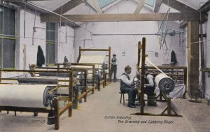 Cotton Industry Drawing Looming Room Antique Postcard
