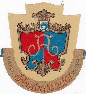 Czechoslovakia Praha Hotel Ambassador Vintage Luggage Label sk4393