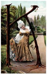 letter K , victorian woman ,