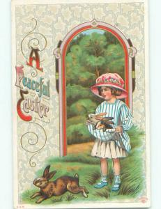 Pre-Linen easter CUTE GIRL HOLDING TWO BUNNY RABBITS IN HER DRESS k2444