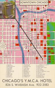 Chicago's Y M C A Hotel Map Of Downtown Chicago