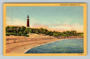 Pensacola FL-Florida, Lighthouse, Linen Postcard