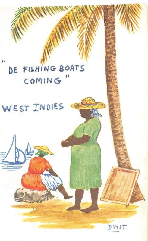 Foreign Postcard c1940s WEST INDIES De Fishing Boats Cartoon DWIT Signed 15