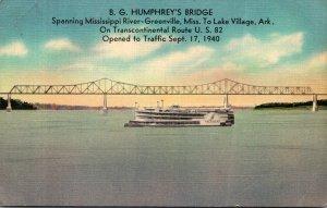 B G Humphrey's Bridge Spanning Missiissippi River Greenville Mississippi...