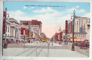 P775 linen card trolleys cars loew,s store etc canal st new orleans la