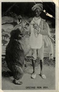 india, Native Juggler Juggling, Bear Tamer at Work (1920s) Postcard