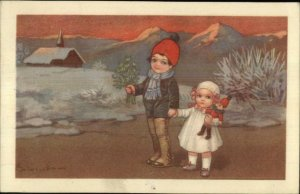 Colombo - Cute Kids Brother Little Sister Doll Flowers Postcard