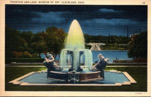 Ohio Cleveland Museum Of Art Fountain and Lake At Night