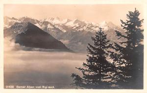 Switzerland Old Vintage Antique Post Card Berner Alpen vom Rigi aus Real Phot...