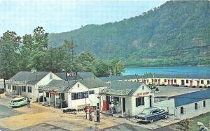 Gauley Bridge WV Gas Pumps Motel Old Cars Coca-Cola Machine Postcard