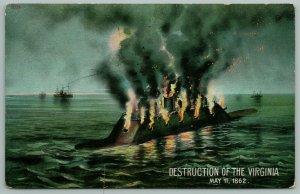 Civil War~Destruction of CSS Virginia~Confederate Ironclad Submarine~c1862~1908