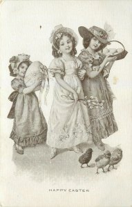 Easter~Girls in Bonnets~Pussy Willows~Lil Girl Has Exaggerated Egg~Chicks~Artist