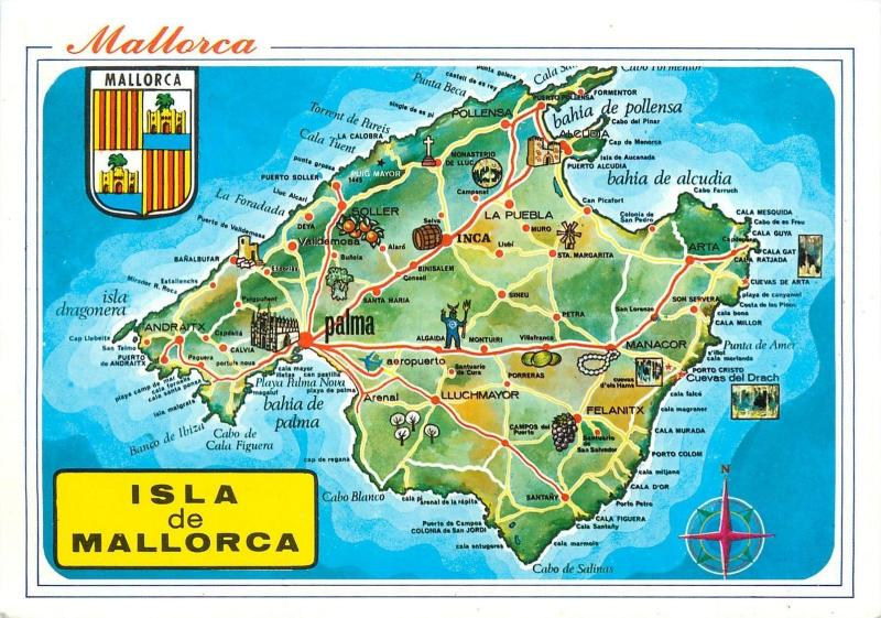 Map Of Spain And Mallorca.Spain Mallorca Island Map Postcard Hippostcard