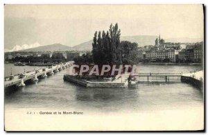 Old Postcard Geneva and Mont Blanc