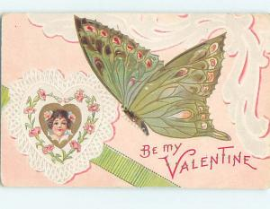 Pre-Linen Valentine BEAUTIFUL LARGE DETAILED GREEN BUTTERFLY WITH HEART HL6961