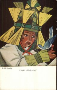 Polish Costume Unusual Hat Bird STRYJENSKA Mloda Wies c1910 Postcard