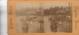 SV : Kasa-an Village , Alaska , 1890s : Totem Poles & Canoes