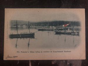 Mint Canada RPPC Real Picture Postcard His Majesty Ships In Esquimault Harbour