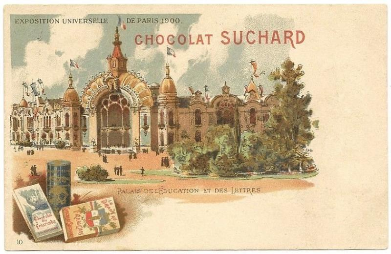 Switzerland Suchard 1900 Exposition color advert postcard