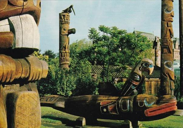 Canada British Columbia Victoria Thunderbird Park Indian Totem Poles