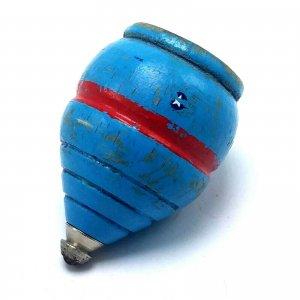 Vintage Wood Spinning Top Metal Tip Original Paint wood Blue w Red Stripe