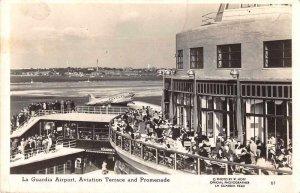 New York La Guardia Airport Aviation Terrace Real Photo Postcard JJ658915