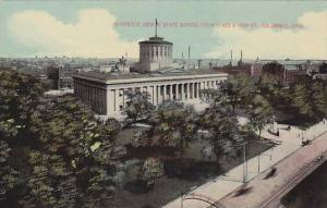 Bird's eye view of State Capitol from State & High St., Columbus, Ohio, 00-10s
