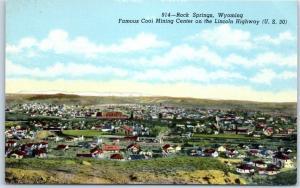 Rock Springs, Wyoming Postcard Bird's-Eye View Highway 30 Sanborn Linen c1940s