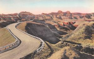 Badlands South Dakota~Handcolored: Road Through Dillon Pass~Guardrails c1914