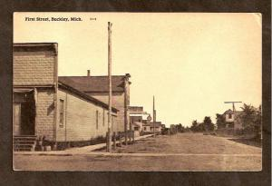 Postcard - First Street - Buckley, Mich. - Date 1915