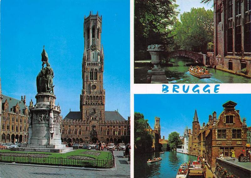 Belgium Brugge, Statue Monument Town Hall River Bridge Boats