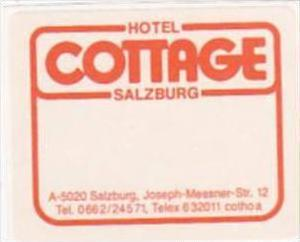 AUSTRIA SALZBURG HOTEL COTTAGE VINTAGE LUGGAGE LABEL