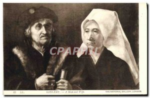 Old Postcard Gossaert A Man and Wife The National Gallery London