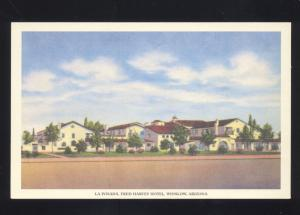 WINSLOW ARIZONA ROUTE 66 LA POSADA FRED HARVEY HOTEL ADVERTISING POSTCARD